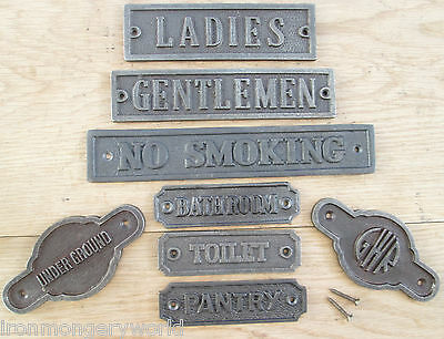 Cast Iron Wall Door Signs Notice Plate Plaque-wc-kitchen-toilets-women-mens • 5.99£