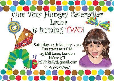 10 X Personalised Birthday Photo Invitations/Thank You Cards Hungry Caterpillar • 5.99£