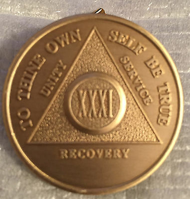 $1.70 • Buy Alcoholics Anonymous 31 Year Recovery Coin Chip Medallion Medal Token AA Bronze