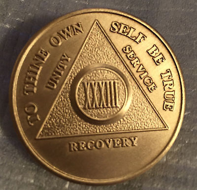 $1.70 • Buy Alcoholics Anonymous 33 Year Recovery Coin Chip Medallion Medal Token AA Bronze