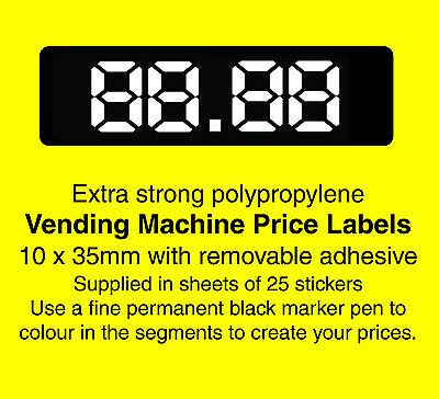 £5.88 • Buy Vending / Snack Machine Price Labels / Stickers - Create Your Own Prices