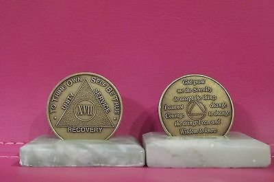 $3.50 • Buy Recovery Coins AA 17 Year Bronze Medallion Tokens Sobriety Affirmation Birthday