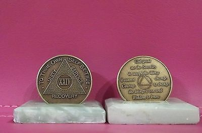 $3.50 • Buy Recovery Coins AA 24 Year Bronze Medallion Tokens Sobriety Affirmation Birthday