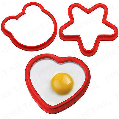 LARGE SILICONE MOULD SHAPE SET HEART+STAR+TEDDY Fried/Poach Egg Kitchen Pancakes • 3.75£