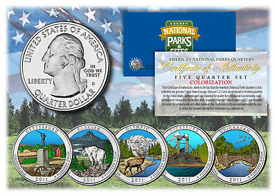 $ CDN16.39 • Buy 2011 America The Beautiful COLORIZED Quarters U.S. Parks 5-Coin Set W/Capsules