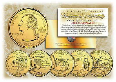$ CDN12.60 • Buy 2002 US Statehood Quarters 24K GOLD PLATED ** 5-Coin Complete Set ** W/Capsules