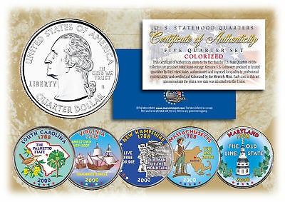 $ CDN16.39 • Buy 2000 US Statehood Quarters COLORIZED Legal Tender 5-Coin Complete Set W/Capsules