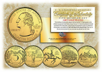 $ CDN12.60 • Buy 1999 US Statehood Quarters 24K GOLD PLATED ** 5-Coin Complete Set ** W/Capsules