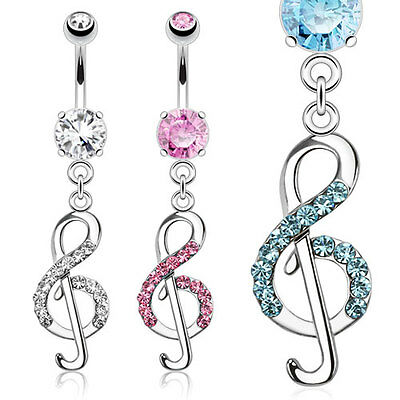 New Novelty Surgical Steel Treble Clef Music Note Dangle Drop Gem Belly Bar • 3.35£