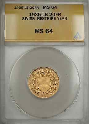 $453.75 • Buy 1935-LB Switzerland 20FR Francs Swiss Gold Coin ANACS MS-64 Restrike Year