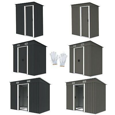 BIRCHTREE New Garden Shed Metal Pent Roof Outdoor Storage With Free Foundation • 219.99£