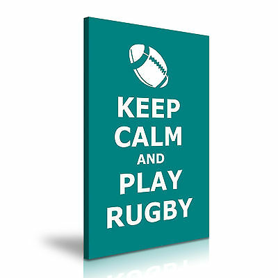 £12.99 • Buy Keep Calm And Play Rugby Slogan Canvas Wall Art Deco ~ Many Size From 12.99