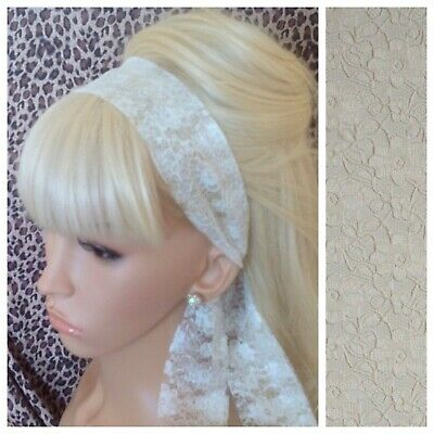 CREAM FLORAL LACE VINTAGE SCARF 50s 60s 80s RETRO HEAD HAIR BAND SELF TIE BOW • 2.99£