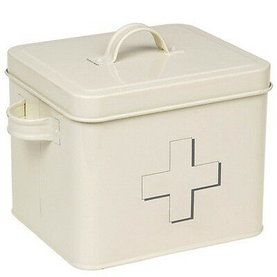 £7.95 • Buy First Aid Box Storage Medical Kit Tin Lid Container New Medicine Cabinet Retro