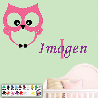 Owl Kids Wall Art Personalised Children Sticker Name Baby Girl Nursery Bedroom  • 5.49£