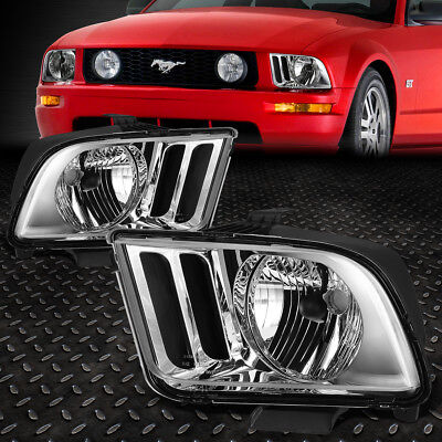 $67.95 • Buy For 05-09 Ford Mustang S197 Pair Chrome Housing Headlight Replacement Head Lamps