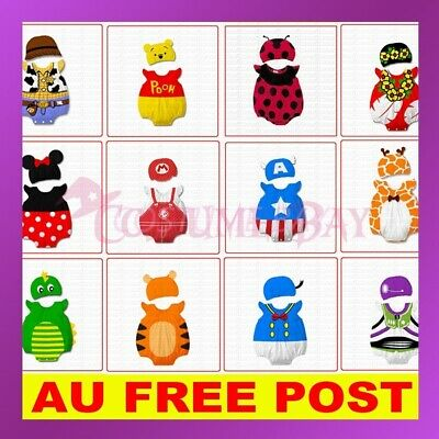 AU12.45 • Buy Boys Girls Baby Romper Animal Cartoon Costume Bodysuit Outfit Jumpsuit Set Hat