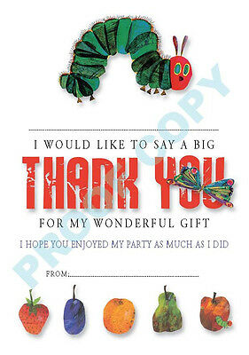 HUNGRY CATERPILLAR Pack Of 10 THANK YOU CARDS Kids Children Birthday • 1.99£