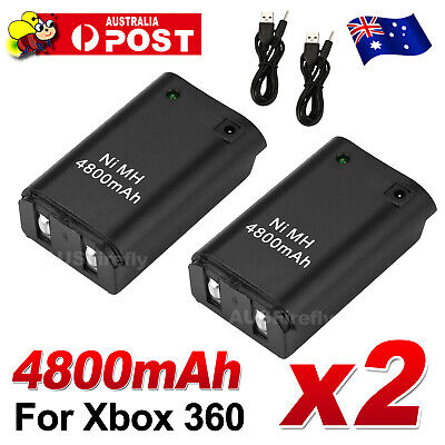 AU9.85 • Buy 2 Rechargeable Battery + USB Charger Cable Pack XBOX 360 Wireless Controller AU