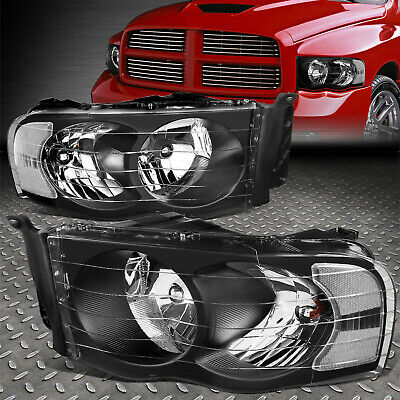 $79.88 • Buy For 02-05 Dodge Ram 1500 2500 3500 Black Housing Clear Corner Headlight Lamps