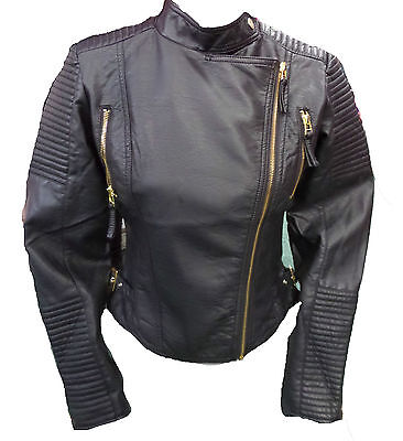 £14.99 • Buy Womens Ladies New Black Cropped Leather GOLD Zip Quilted Biker Jacket/Coat 8-14
