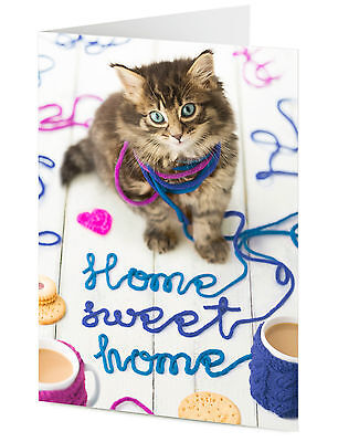 Mischievous Cute Cat Kitten Playing With Wool Says HOME SWEET HOME Card • 3.25£
