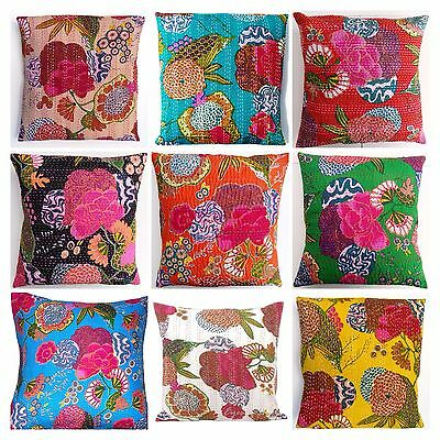 £3.70 • Buy Indian Handmade Floral Home Decor Floor Kantha Embroidery Cushion Cover 40x40cms