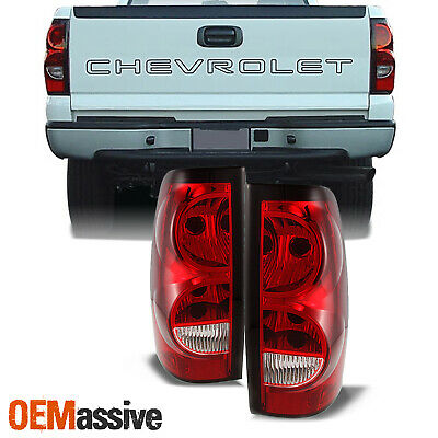 $85.99 • Buy Fit 03-06 Chevy Silverado Pickup Red Clear Tail Lights Replacement