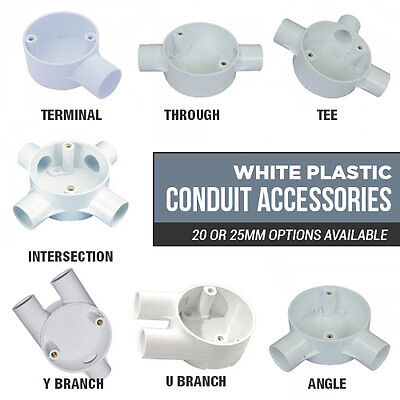 £1.50 • Buy Choice Of White Plastic Conduit Boxes 1 Way - 4 Way 20mm Or 25mm Junction Boxes