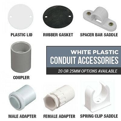 £0.99 • Buy 20mm And 25mm White Plastic Conduit Accessories Saddles, Adaptors, Lids Gaskets
