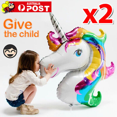 AU6.45 • Buy 2x UNICORN FOIL BALLOON FANTASY HORSE GIRLS BIRTHDAY CHRISTMAS X'MAS PARTY