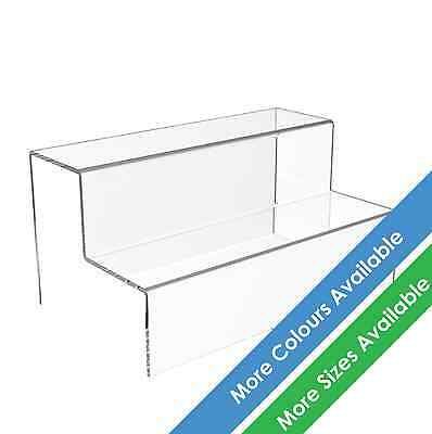 2 Step Tier Display Stand Acrylic Jewellery Riser Plastic Retail Shop Plinth • 10.34£