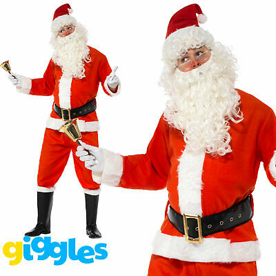 Deluxe Mens Father Christmas Costume Santa Claus Suit Xmas Fancy Dress Outfit • 21.89£