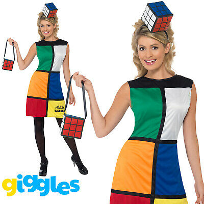 £26.29 • Buy Rubiks Cube Costume Womens Ladies 1980s Female Halloween Game Fancy Dress Outfit