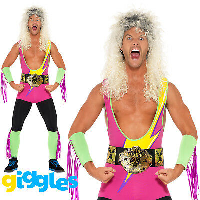 £26.99 • Buy Adult Mens Wrestler Costume Bodysuit WWF 80s 90s Retro Stag Fancy Dress Outfit