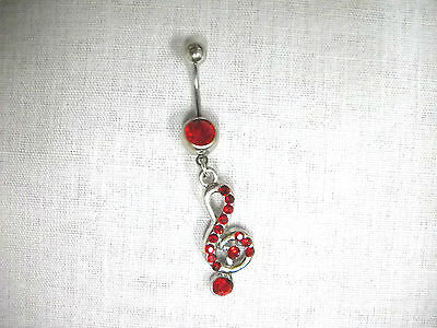 £4.09 • Buy MUSICAL TREBLE CLEF / G CLEF W DAZZLING RED PAVE CRYSTALS 14g  RED CZ BELLY RING