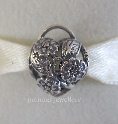 AU23.20 • Buy Authentic Genuine Pandora Sterling Silver Floral Heart Padlock Charm 791397