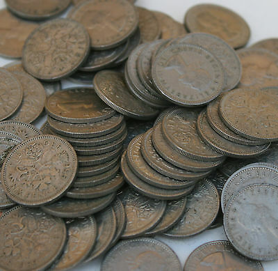 £12.99 • Buy 100 Lucky Sixpences Clean Bulk Lot Of Old English Coins