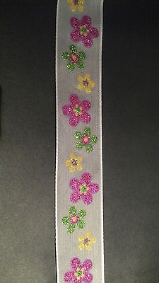 Wire Edge Ribbon 38mm White Fine Mesh Sparkly Glitter Flowers Quality New • 4.50£