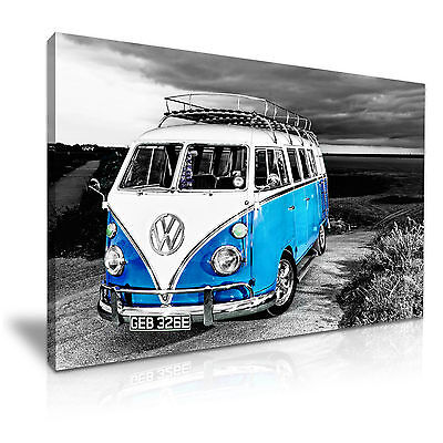 £30.99 • Buy VW Camper Van Vintage Campervan Canvas Wall Art Picture Print 76x50cm