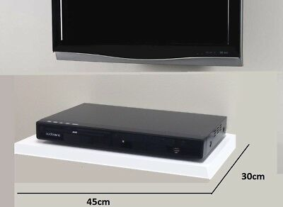 White Floating Media Shelves Shelf For DVD SKY BOX TV AV Xbox Wall Mounted New • 14.95£
