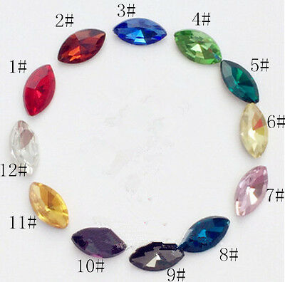 15pcs 7x15mm Navette Eyes Rhinestone Crystal Bead Glass Foiled Point Back Diy • 2.29£