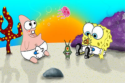 Baby Spongebob Squarepants And Patrick Poster Wall Art Birthday Banner 24x36 • 19.29£