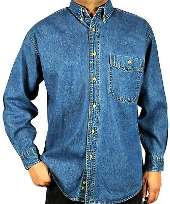 $15.95 • Buy Denim Shirt -Men's Long-Sleeve Relaxed Fit Stone Washed Button Down Collar. M-02