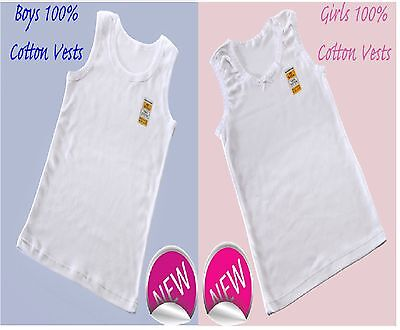 3 / 6/ 12  Girls And Boys 100% SOFT COTTON VESTS 2 3 4 5 6 7 8 9 10 11 12 13 YRS • 4.95£