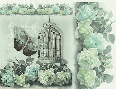 £1.89 • Buy Rice Paper For Decoupage, Scrapbook Sheet, Craft Cage Rose Butterfly Blue