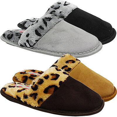 £4.99 • Buy New Womens Ladies Low Wedge Leopard Slip On Mule Comfort Slippers Shoes Size