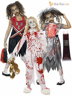 Age 7-15 Girls Zombie Costumes + Blood Halloween Fancy Dress Party Horror Kids • 10.36£