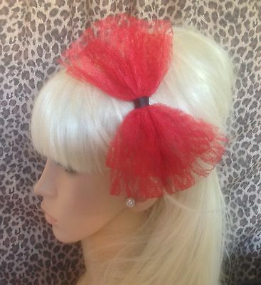 £3.99 • Buy NEW BIG RED LACE BOW SATIN ALICE HAIR HEAD BAND 80s RETRO HEN PARTY FANCY DRESS