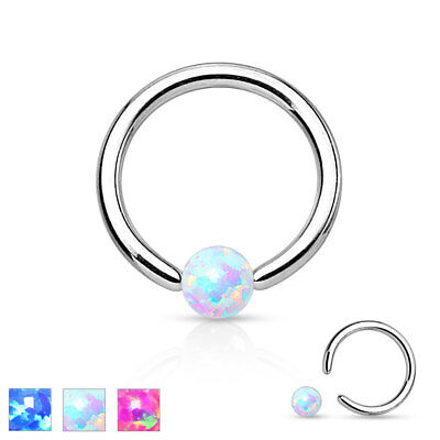 New Surgical Steel Opal Ball BCR Captive Bead Ring Cartilage Tragus Hoop Ring • 3.87£